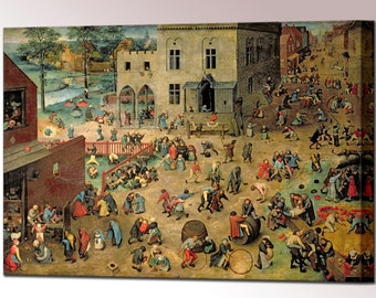 Childrens Games Pieter Bruegel Canvas Wall Art Print Picture Kinderspiele Framed Wall Decor Ready Hang