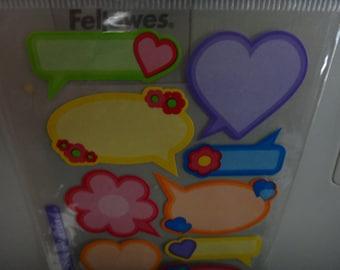 Free Shipping! Stickopotamus 12 Photo Caption Stickers - Scrapbook, Cards - Pastels - Pink, Blue, Orange, Lavendar, Green, Yellow - NIP - S2