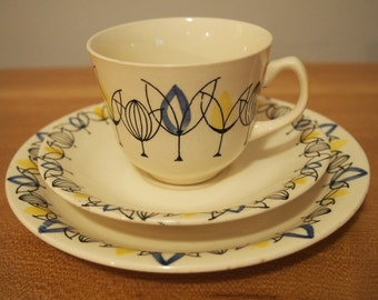 1950s StavangerFlint Teacup, Saucer and Cakeplate designed by Inger Waage