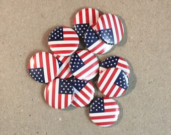 American Flag 12 - 1 Inch Pinback Button Pin Set