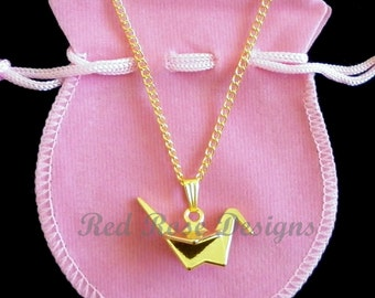 Crane, Bird, Origami, Gold Plated, Pretty, Gift, Charm, Pendant Necklace