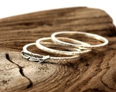 Feather ring sterling silver. Tiny sterling silver set of 3 rings, stacking ring, hammered band ring