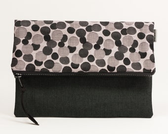 Polka dots Clutch. Black and Grey Foldover Clutch. Purse. Evening bags. Fold Over Zip Clutch