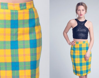 80s radiant YELLOW and blue TARTAN skirt Vintage 1980s High Waisted PLAID woollen pencil skirt Small, Medium, s, m
