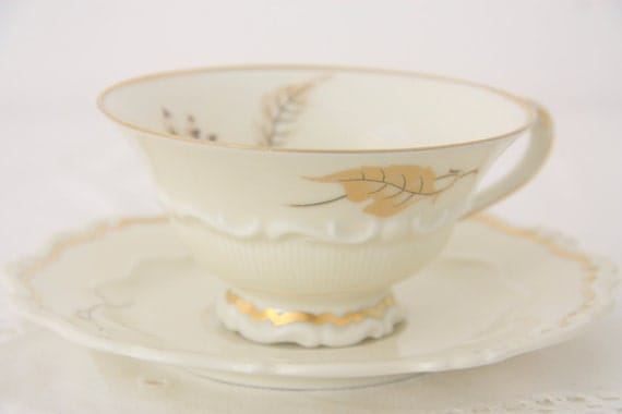 Vintage Sorau Carstens Porcelain Teacup and Saucer, Germany, Textured and Hand Painted Leaf and Flower Decor, Numbered