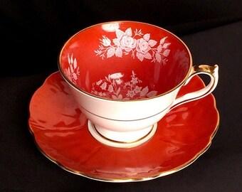 Aynsley Teacup and Saucer, Antique Teacup and Sauce, Hand Painted Vintage Tea Cups, High Tea Floral Teacup