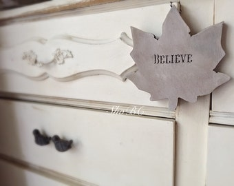 Wooden Hanging Believe Leaf