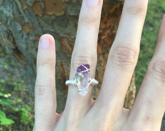 Amethyst wire wrapped crystal ring