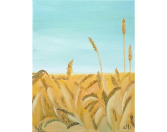 Wheat Field Painting, 11 x 14, Oil Painting, Original Art, Western Painting, Landscape Painting, Country Art, Countryside painting