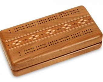 Cherry Cribbage Box | Cards & Pegs Included