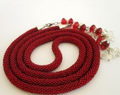 Beaded crochet  necklace rope - lariat. Red. FREE SHIPPING.