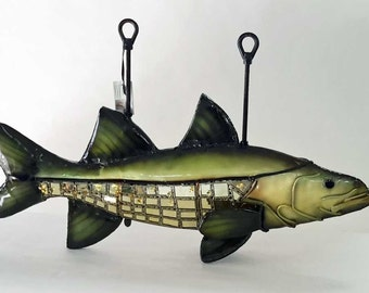 Snook, Fish,  Copper and Stained Glass Sculpture