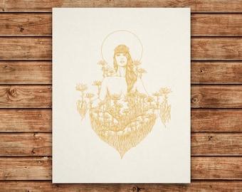 Inner Gardens - 11x14 Silkscreen Art Print