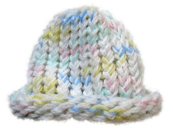 White and Multicolor Baby Hat