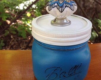 Wide Mouth Mason Jar with Blue & Coral Ceramic  Knob- Trinket Holder- Desk Decor- Vanity Decor- Bathroom Decor