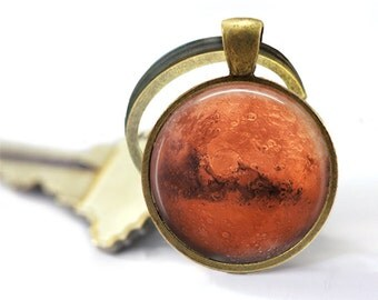 Planet Mars keychain Astronomy key fob Galaxy key ring