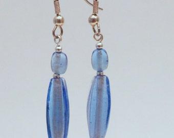 Pale Blue Glass Bead Earrings
