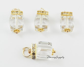 Free Shipping 5 pieces - Acrylic Clear Cubic Cube Charms Pendants Jewelry Findings HY031 - C2B.33