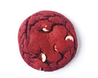 Red Velvet White Chocolate Cookie, valentines day, mothers day, handmade, homemade, made-to-order baked goods