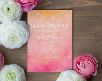Wedding Invitation - Pink and Orange Watercolor Abstract Invitation - PRINTABLE- Digital File