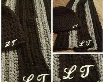 Crochet Monogram Scarf or Hat