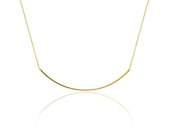 Flat tube necklace-silver tube necklace- dainty necklace- layering necklace- gold delicate necklace-line necklace-stunning necklace