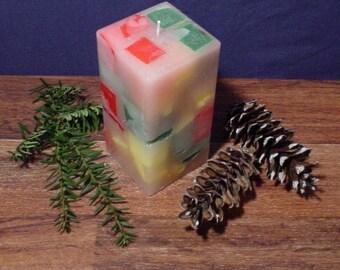 """3"""" square multi colored pillar candle"""
