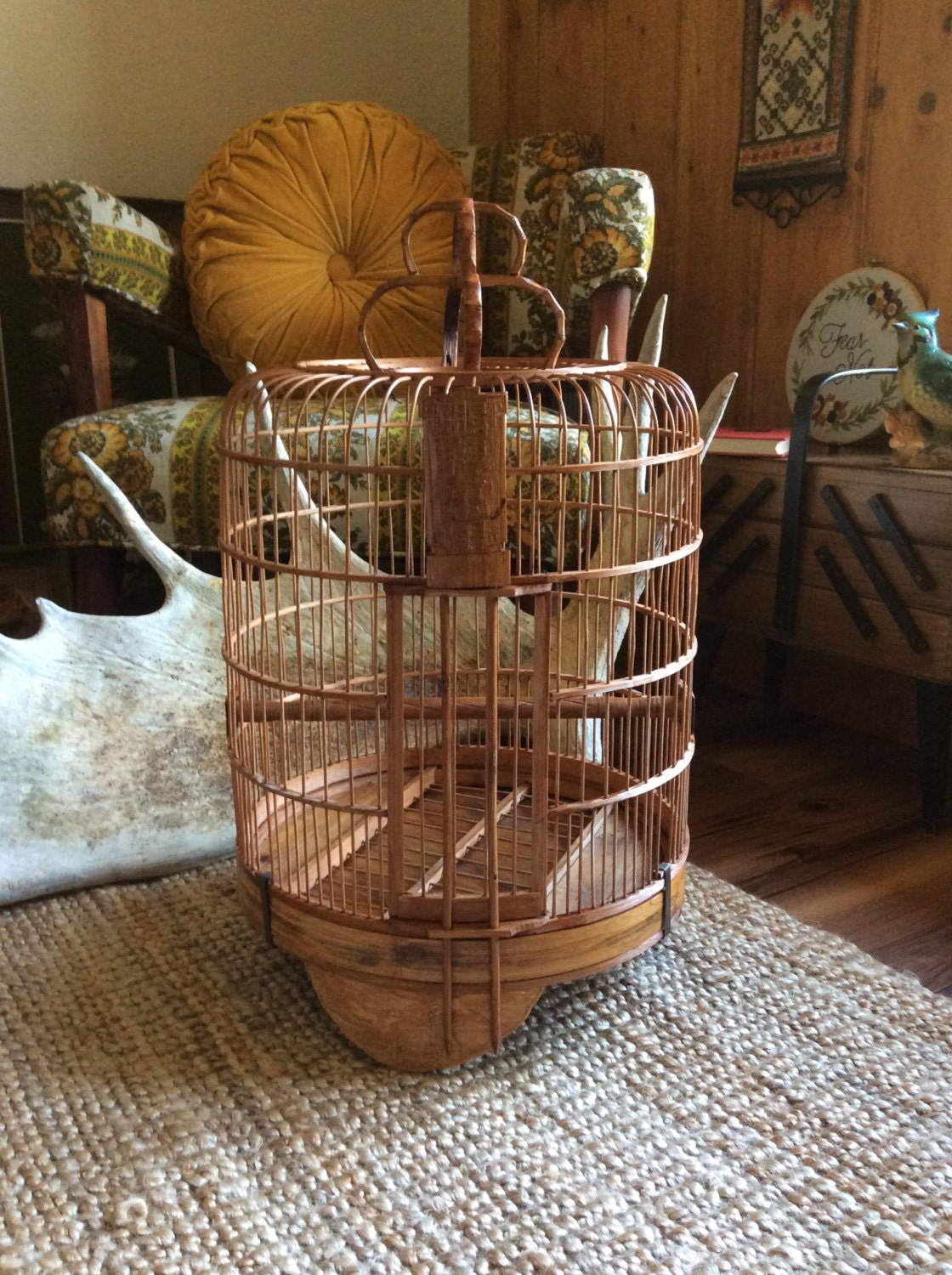 vintage chinese bamboo large bird cage hand crafted wood. Black Bedroom Furniture Sets. Home Design Ideas
