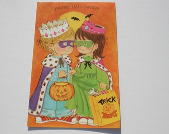 Vintage Unused Halloween Card,  Kids Trick or Treating, 70s 1970s Greeting Card, Rousana by L Mallin