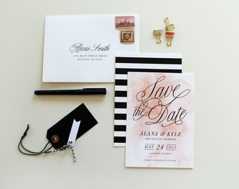 Watercolor Save-the-Date, save the date cards, save-the-date, calligraphy save the date, watercolor wedding, black and white stripes, stripe