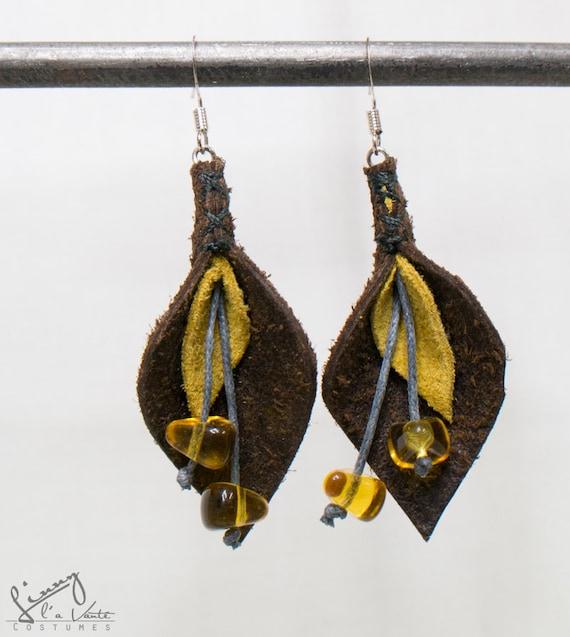 Brown/yellow Leather Petal Earrings  [Dogwood Blooms]