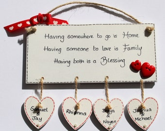 Personalised House Warming Gift Home Sweet Home Plaque Sign Mothers Day Names