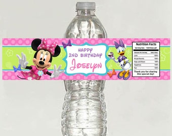 10 Minnie Mouse Bowtique Birthday Water Bottle Labels