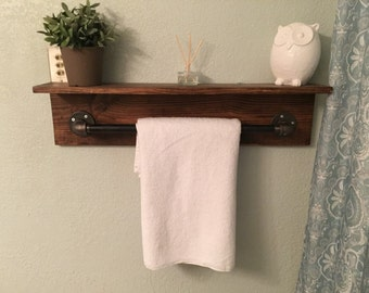 Industrial Towel Rack Shelf Bathroom Rustic Pipe Towel Rack