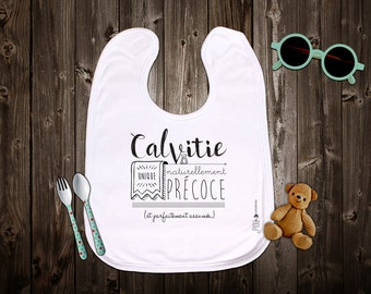 """Customizable original bib """"Naturally early baldness"""". Birth gift. Baby gift. Text and graphics by Piou creations."""