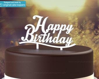 """Birthday Cake Topper - """"Happy Birthday"""" - WHITE - OriginalCakeToppers"""