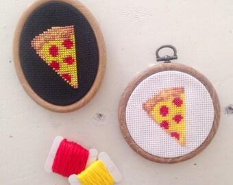 SALE : Pizza Emoji Art Cross Stitch White Embroidery Hoop