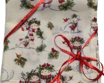 "Sale, Christmas Napkins, Cloth Napkins, Snowmen Napkins, Wedding Napkins, Lunchbox Napkins, Kids Lunch Napkins, Set of 4, 16""x 16"" (N114)"