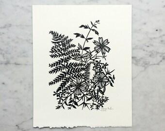 Original Handmade Papercut Artwork | Fern and Flowers