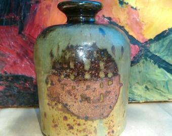 Vintage Pottery Bottle, signed