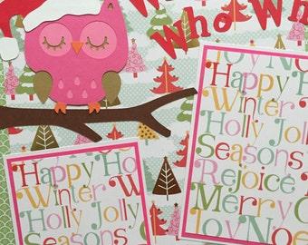 Owl Baby Girl Christmas Premade Scrapbook page
