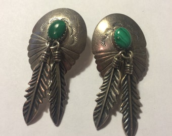Vintage Sterling and Green Stone Feather Indian Post Earrings