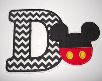 Made to order ~Mr Mouse/pants & Letter (You Choose a  Letter) iron on or sew on applique patch
