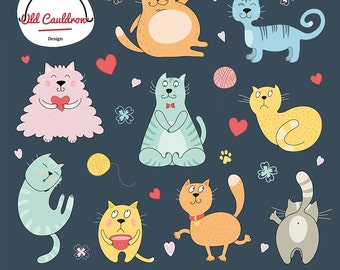 Funny cats clipart, kittens clipart, animal clipart, clipart, vector graphics, digital images, vector clipart CL064
