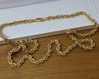 585er yellow gold rope chain necklace elegant GK103