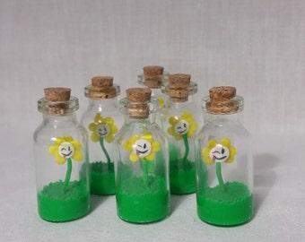 Flowey Miniature Bottle Charm