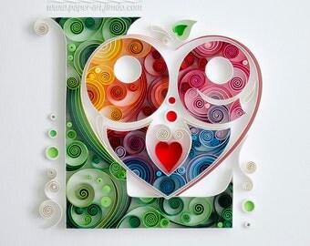 Quilling art Quilling wall art Quilling art Paper quilling Art Love Wedding Anniversary Handmade Decor Design Gift Artwork