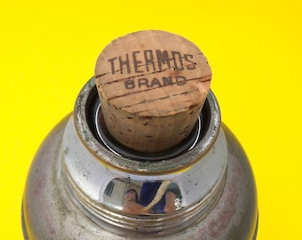 Vintage Metal Thermos - Cork Stop Thermos - Insulated Coffee Cup