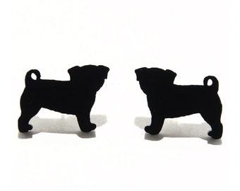 Pug Dog Earrings in Black, Pug Dog Studs, Pug Dog Stud Earrings, Pug Dogs, Pug Earrings, Pugs, Pug Jewelry, Titanium Earrings, Gift for Her