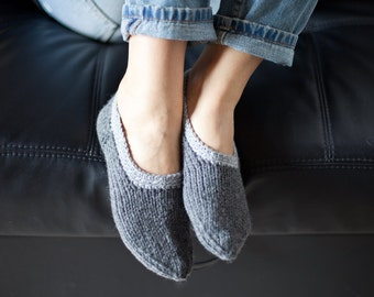Handknitted slippers / Handmade slippers / Wool socks for women (hs-0007)